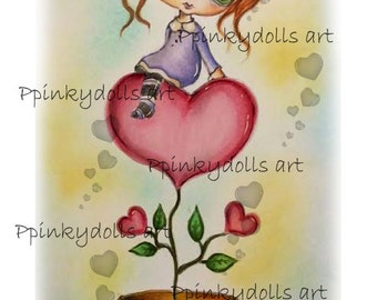 INSTANT DOWNLOAD Digital Digi Stamps..by Chrishanthi's art,Love flower''