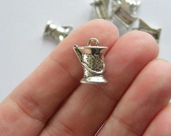 6 Spool and needle charms tibetan silver P507