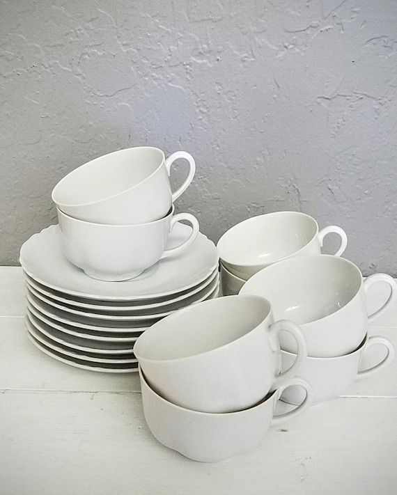 Vintage H & Co Selb Set of 8 Tea Cups And Saucers, Heinrich Company Bavaria Porcelain China