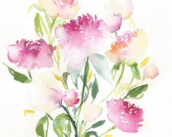 Galentines Day, Watercolor Floral painting, Flower Bouquet, Original Watercolors flower painting, Valentine day art, Galentines Gift