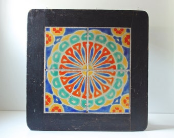 Antique Catalina tile table - arts and crafts mission style coffee or side table - Spanish style Monterey tile multi color side coffee table