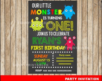 Little Monster Chalkboard invitation; Chalkboard Little Monster Birthday invitation, Monster party Invitation Digital File