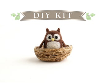DIY Kit - Little Owl in a Nest Needle Felting Kit - Needle Felted Animal Kit