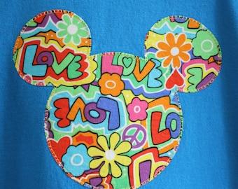 Women's or Girls' Custom Disney Inspired Applique Mickey Ears Silhouette T-shirt Peace Love Flowers Vacation Shirt Tee Pick size YXS-2XL