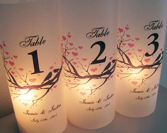 Wedding Luminaries, Heart Branch Personalized Wedding Table Number Luminary with Love Birds