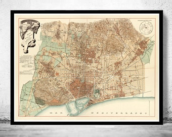 Old Map of Barcelona, Spain Cataluña 1890 Vintage map Barcelona
