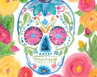 Printable Art, Day of the Dead, Watercolor, Sugar Skull, Instant Download Art, Skull, Watercolor Print, Digital Download,