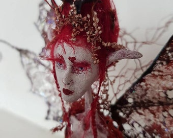 "Root Faerie - ""Scarlet""- OOAK Botanical Sculpture-Gothic- Eco Art-Natural- Vintage."