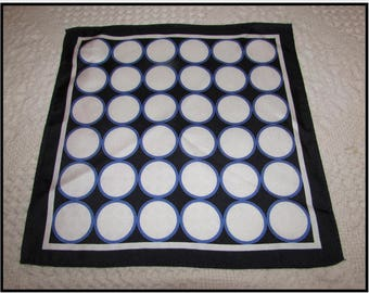 Vintage Silk Pocket Square, Navy Blue with White Circles w/ blue Borders, suit accessory, handkerchief