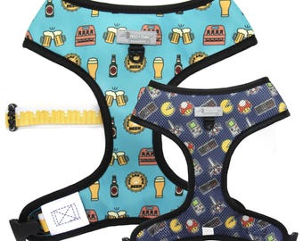 REVERSIBLE DOG HARNESS - beer harness, gamer, dog collar, beer lover, game boy, pac man, nintendo, oktoberfest, frenchie harness