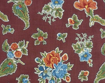 Family Tree II C. 1840 – Mary Koval – Windham Fabrics – Flowers on Brown – Quilting Patchwork Fabric FQ