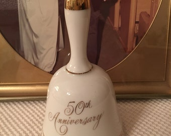 Vintage Hand Painted 50th Anniversary Bell, Norcrest