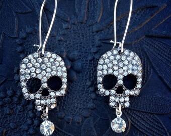 Pave Rhinestone Skulls in Black Metal with Vintage Rhinestone Drop Silver And Long Ear Wire Earrings