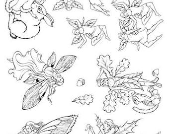 Designs by Ryn - Unmounted Rubber Stamp Set  Faeries - UM-L6