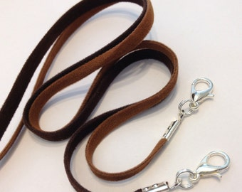 "NEW! 10 pcs - 4mm Microfiber Faux Suede Cord Necklace Brown 14"" 16"" 17"" 18"" 19"" 20"" 22"" 24"" 26"" 28"" 30"" Handmade in USA"