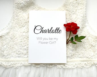 Flower Girl Card, Flower Girl Proposal, Card for Flower Girl, Personalised card, Wedding Party card, Will you be my? Proposal, wedding card