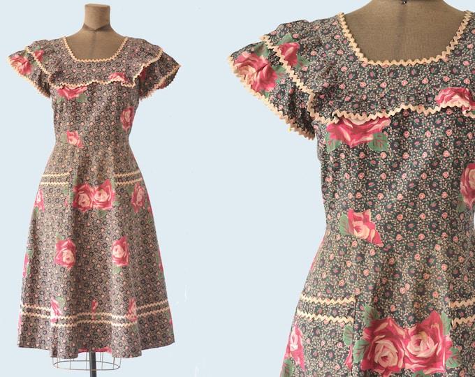 1940s Rose Ruffle Cotton Dress size S/M READY