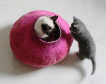 Cat Bed / Cat Cave / Cat Furniture / Hot PInk Bubble / Hand Felt Wool Cat Bed Vessel Cocoon Crisp Contemporary Modern Design /Cat lover gift