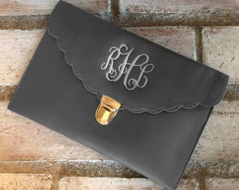 CHARCOAL CLUTCH BAG - Leather Purse - Wedding Clutch - Evening Bag - Clutch Purse - Envelope Bag - Monogrammed Clutch - Bridesmaid Gift
