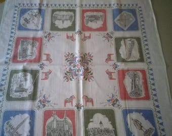 Vintage Swedish Mid Century printed tablecloth with Dala motifs