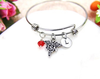Bachelor of Science Nursing Bracelet, Bachelor of Science Nursing Bangle, BSN Caduceus Charm, BSN Medical Charm RN Nurse Graduation Gift B40