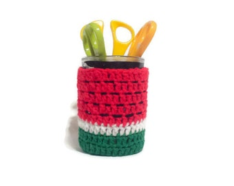 Crochet Pencil Jar Sleeve, Welcome Gift for House Guests, Watermelon, Container Cover, Candle Holder, Gift For Office Friend