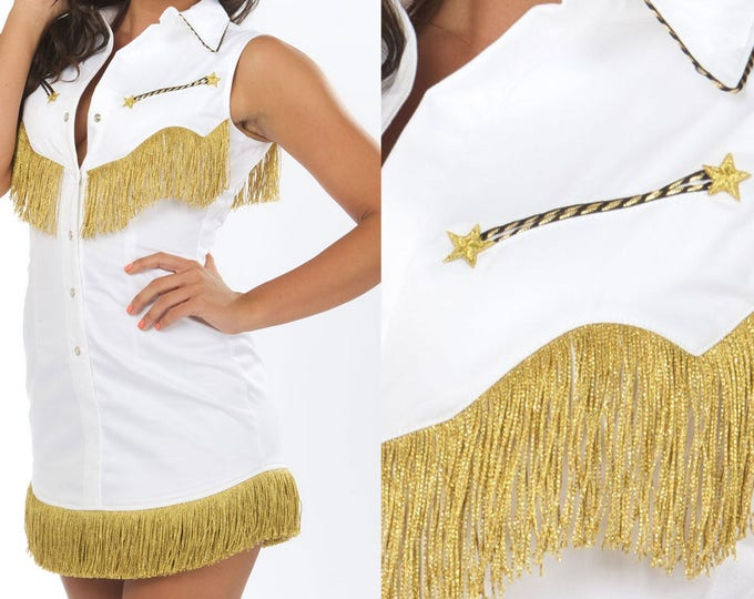 Riley Western Fringe Dress in White and Gold
