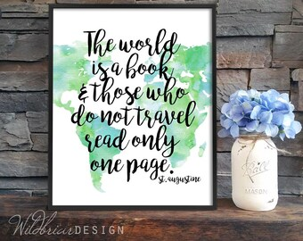 Printable Wall Art, Watercolor, World Map, Augustine quote, book travel read quote, books, education, playroom green blue INSTANT DOWNLOAD