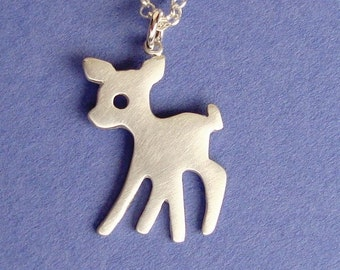 Fawn Necklace Sterling Silve Deer Pendant Kids Necklace Teen Jewelry Bambi pendant charm necklace dainty charm  pendant jewelry