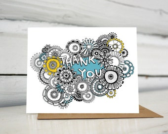Thank you card with hand lettering and pen and ink flowers