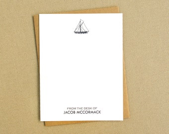 Vintage Inspired Sailboat Personalized Stationery Cards / Nautical Stationary for Men / Masculine Sailboat Note Cards