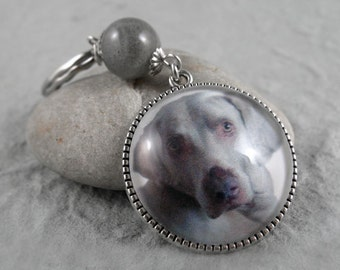 Custom Pet Photo Keychain, Pet Photo Key Ring, Pet Memorial Gift, Silver, Bronze, Gemstone Keychain