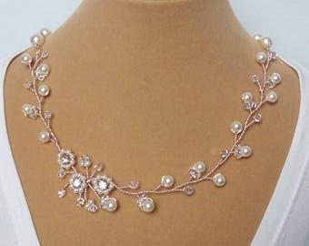 Rose Gold Wedding Necklace, Rose Gold Wedding Jewelry, Rose Gold Bridal Necklace, Rose Gold Bridal Jewelry, Rose Gold Pearl Necklace