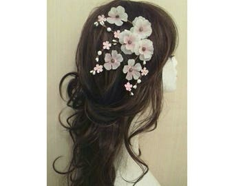 Pink and White Cherry Blossom Flower Floral Hair Clips Accessories