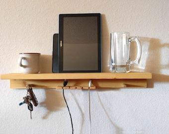 Small Wood Shelf, Night Stand Shelf, Bed Shelf, Desk Shelf, Device Shelf, Android Shelf, iPone Shelf, Recharge Device Shelf, Cellphone Shelf
