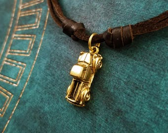 Truck Necklace SMALL Truck Charm Necklace Pickup Truck Jewelry Brown Leather Necklace Cord Necklace Men's Jewelry Boyfriend Necklace Husband