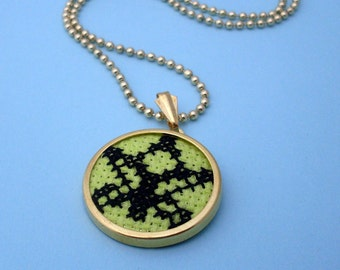 Embroidered Lotus Flower Necklace - Gold, Green, Black