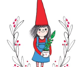Funny gnome card for gardener. Botanical card for plant lover or gardener. Elf with plant birthday card.