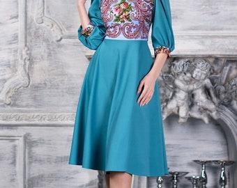 Turquoise boho style dress midi by AugustWalzShop