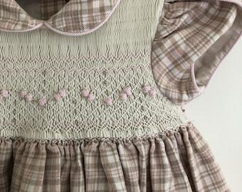 Vintage toddler girl pink brown cream plaid smocked dress