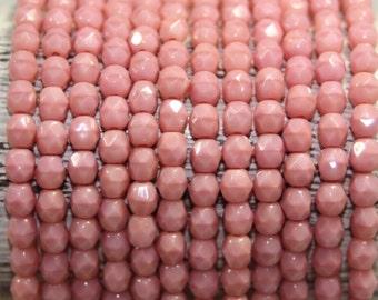 Czech Glass Beads, 4mm Fire Polish, Faceted Round, 50 Beads