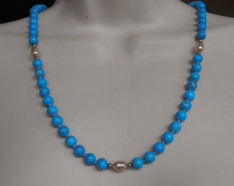 """Turquoise Howlite Bead Necklace, Baroque Pearl, Hand Knotted, 8mm Bead 26"""" Long Opera Length"""