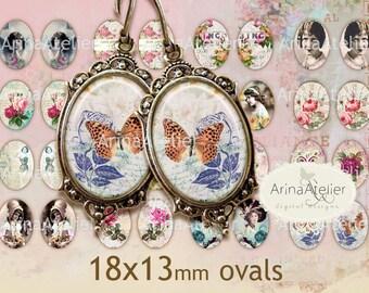 Vintage Mix Ovals Micro slides for earrings - 18x13mm - Digital Collage - Collage Images - Digital Images - Digital Ovals