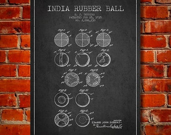 1935 India Rubber Ball Patent, Canvas Print,  Wall Art, Home Decor, Gift Idea