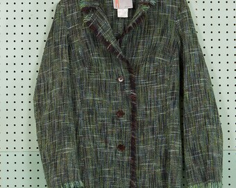 Womens Vintage Fashion Missoni 100% Wool Blazer Jacket Size 44 Made in Italy Green