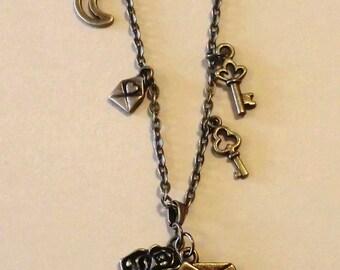 Love Letter Envelope,key,rose,bronze,necklace,pendant,altered art charm,gift for her