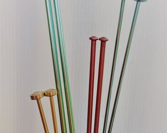 Vintage knitting needles - 4 pairs - coloured anodised aluminium