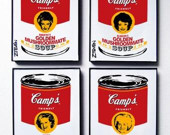 The Golden Girls Pop Art Soup, original framed artwork set of 4, by Zteven