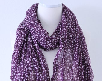 Soft Long Wrap Scarves/Star Print Scarf/Purple and White/Spring Summer Scarf/Lightweight Women Scarves