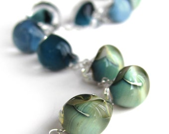 Glass Drop Necklace in Ombre Navy Blue, Aqua, Seafoam Green Glass Beads, Sterling Silver Chain, Summer Jewelry, Nautical Necklace, Shoreline